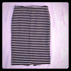 Merona Black & White Strip Pencil Skirt